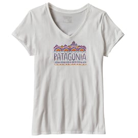 Patagonia W´s Femme Fitz Roy V-Neck T-Shirt Weiß