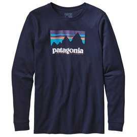 Patagonia M´s L/S Shop Sticker Cotton T-Shirt Dunkelblau