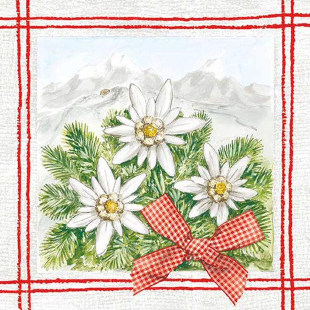Napkin 33 Edelweiss Rot